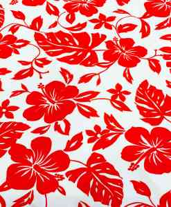 Tissu popeline de coton hawaï rouge