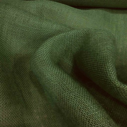 Tissu toile de jute vert bouteille