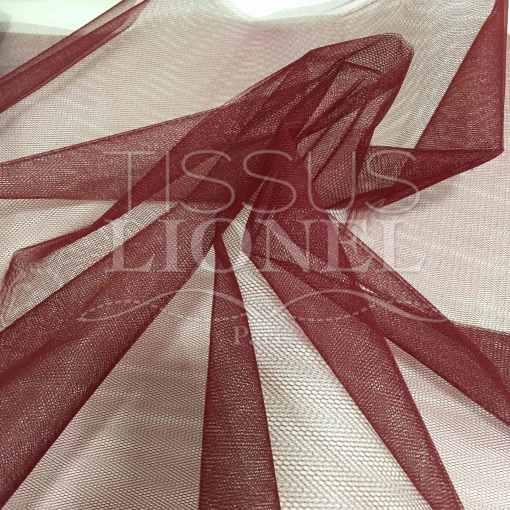 Tissu tulle souple bordeaux