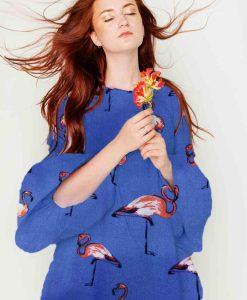 Ткань парусной вискоза фламинго синее платье
