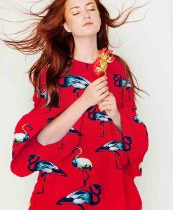 напечатанная вискоза ткани парус красного фламинго платье