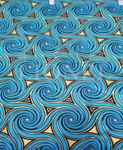 Tissu wax pailleté or circle bleu