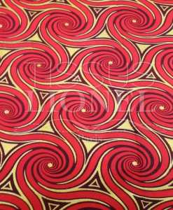 Tissu wax pailleté or circle rouge