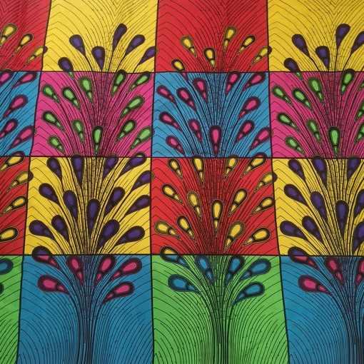 Tissu wax plume de paon multicolors