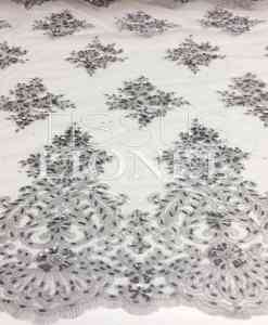 EMBROIDERED TULLE PEARL GRAY