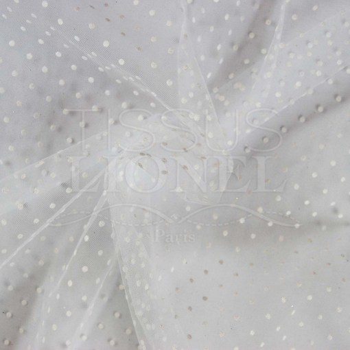 tulle plumtié fond blanc points blanc