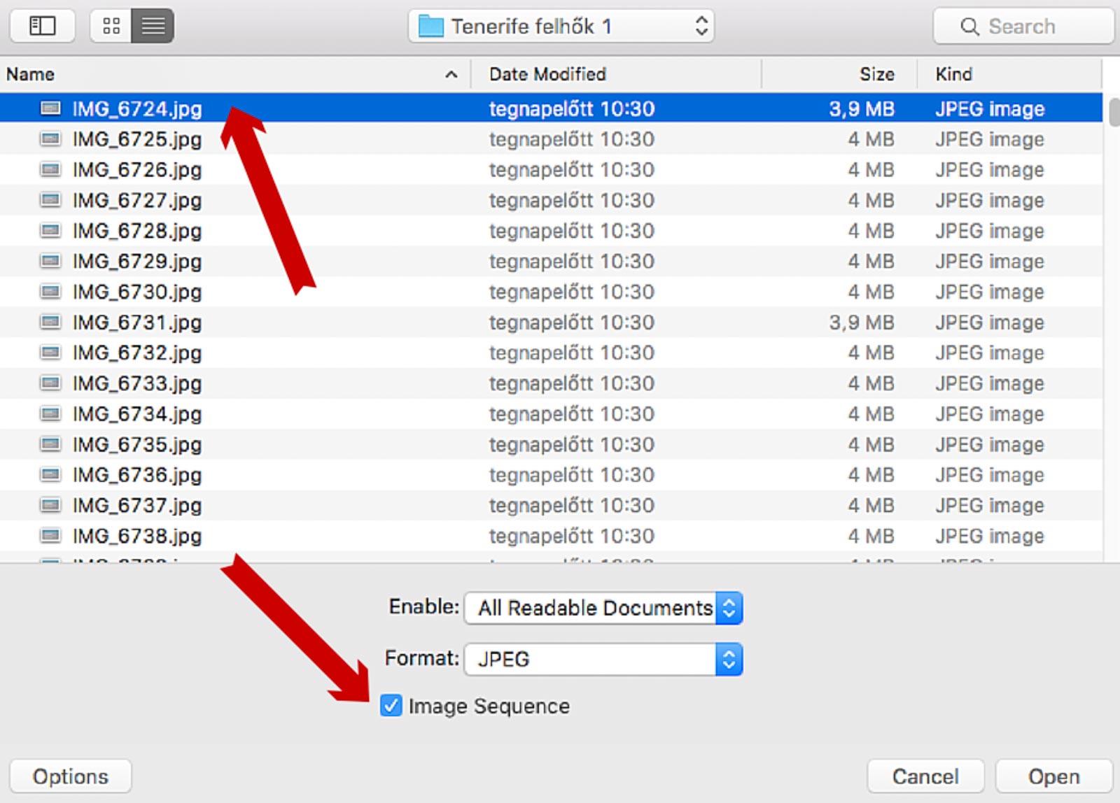 Photoshop jpg szekvencia megnyitása