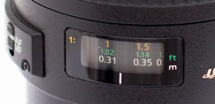 Canon 100mm USM macro tavolsagjelzo