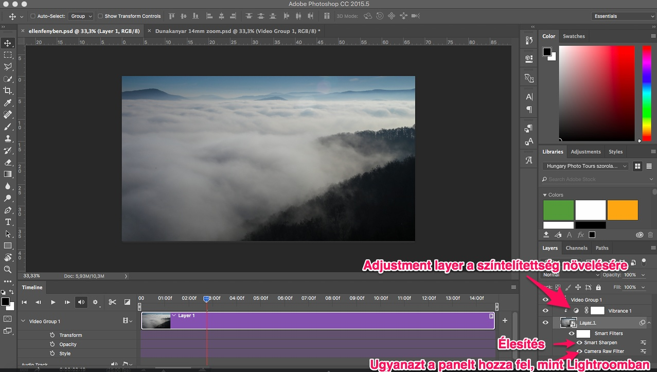 Photoshop timelapse layerek