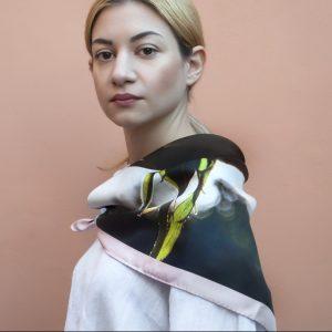 Efthalia-women silk scarf square 90cm