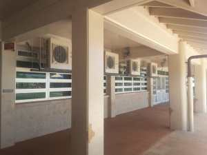 Exterior units, split AC System, installed at Kapolei Elementary.