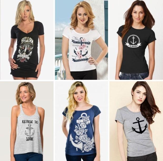 Kaos Wanita Dengan Desain Gambar Jangkar  titancity