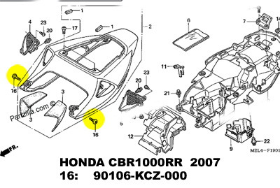 HONDA TITANIUM fairing bolt. Fireblade, Part:90106-KCZ-000