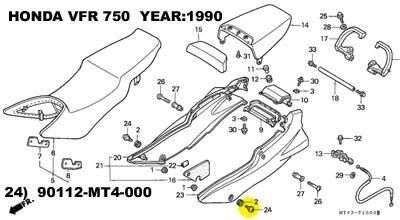 HONDA TITANIUM fairing bolt.No: 90112-MT4-000