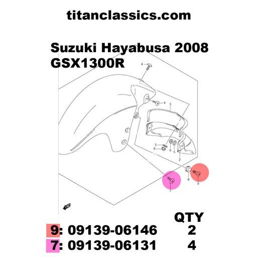 TITANIUM seat stepped bolt. 09139-06146