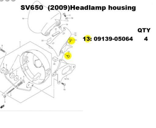 sv650 headlamp housing