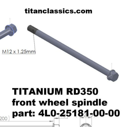 rd350 TITANIUM front wheel spindle