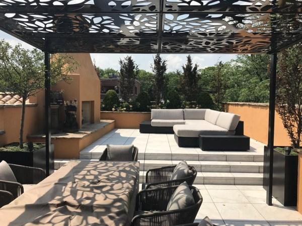 Custom Design -weather Rooftop Pergola Titan Cut