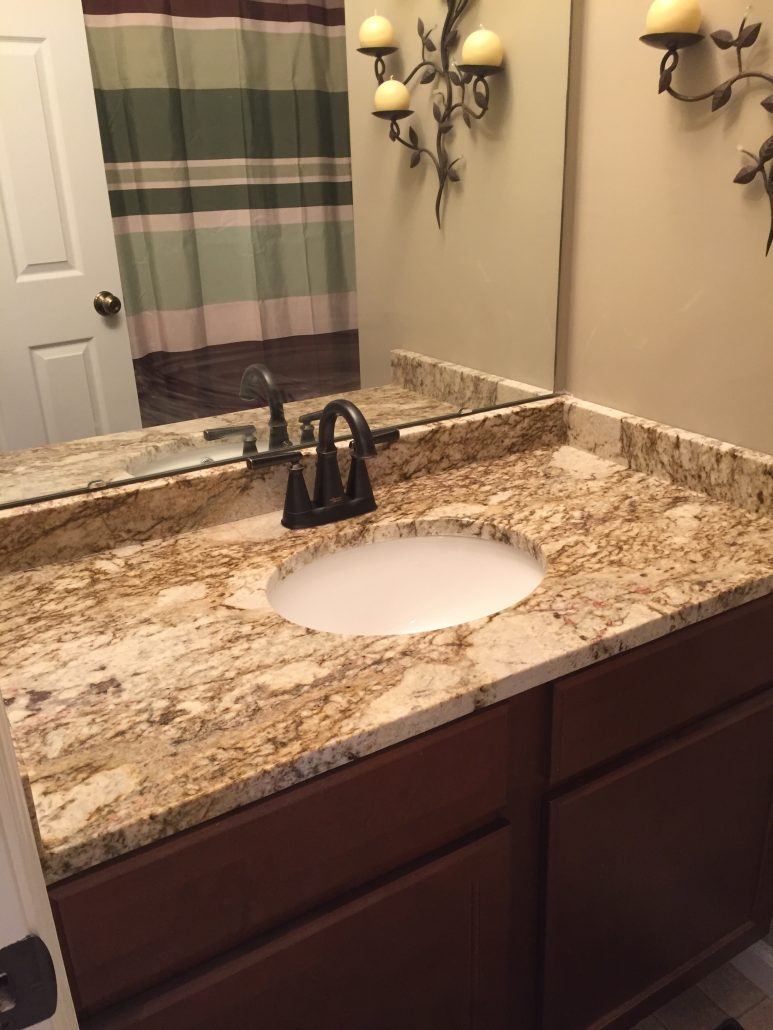 Fantasy Platinum Granite Bathroom  Titan Granite  St Louis MO