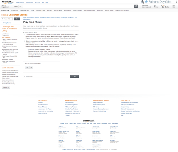 Lorem Ipsum is an option in Amazon Help