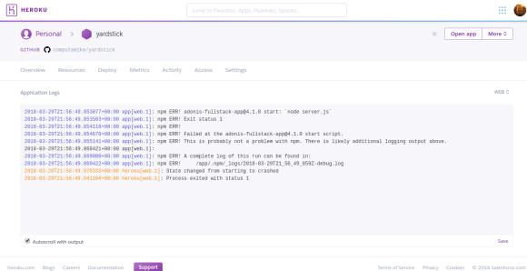 Error logs displayed through the Heroku Dashboard
