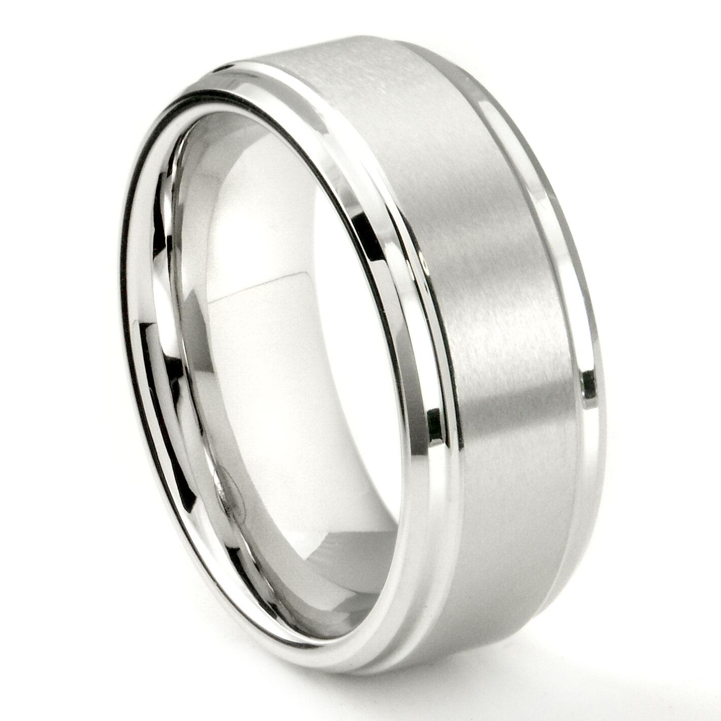 White Tungsten Carbide 9mm Brush Center Wedding Band Ring