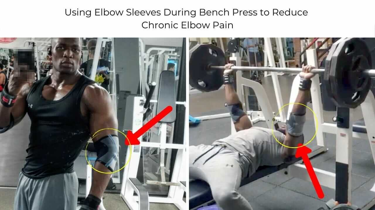Nurudeen Tijani benching at gym with elbow injury pain and wearing elbow sleeve