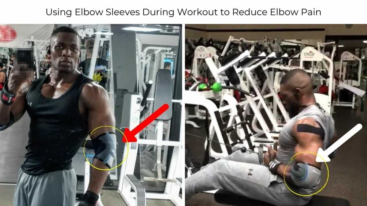 Nurudeen Tijani working out at gym with elbow sleeves to reduce elbow pain