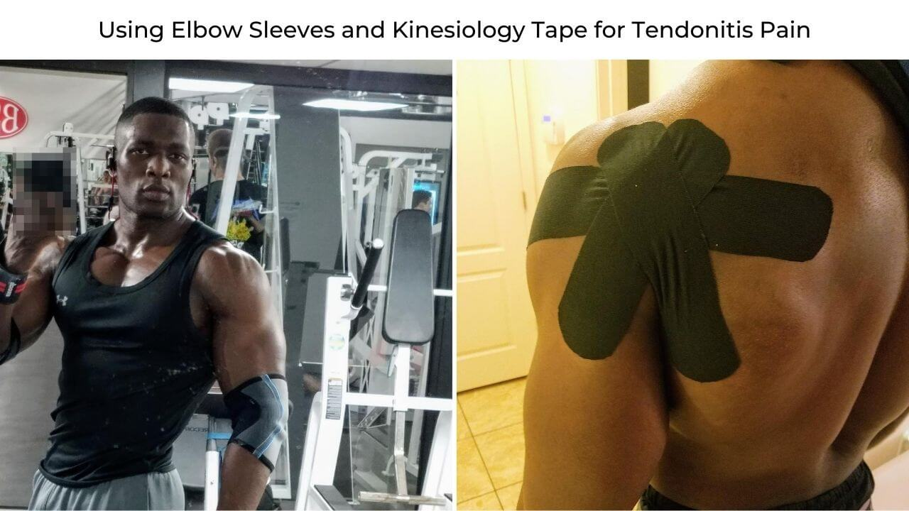 Nurudeen wearing elbow sleeves for elbow tendinitis pain and kinosiology tape for shoulder tendonitis injury