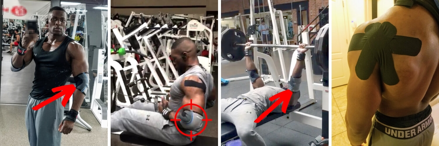 Nurudeen lifting weights at gym with elbow pain and shoulder pain