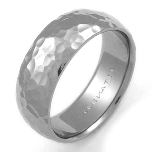 Ballard Titanium Ring With Hammered Finish  Titanium