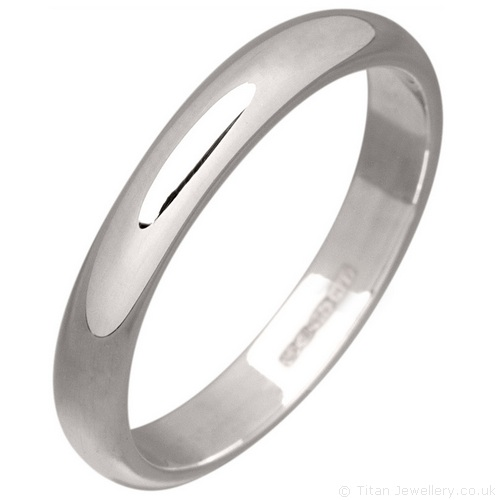 3mm Sterling Silver Wedding Ring With Uk Hallmark