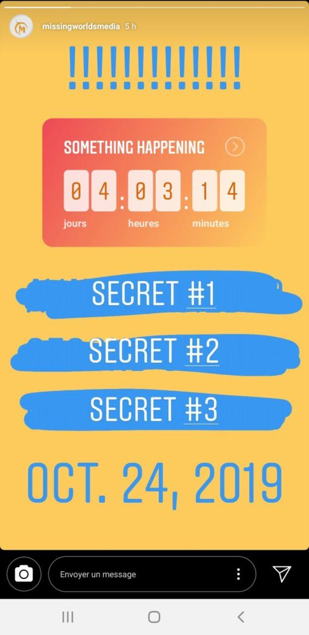 Story instagram de city of titans annoncant 3 secrets révélés dans 4 jours