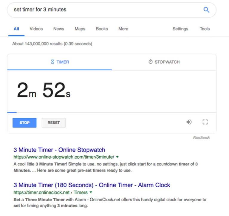 Set Timer Google Tricks
