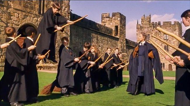 Neville Longbottom taking flight in Hogwarts flying lesson