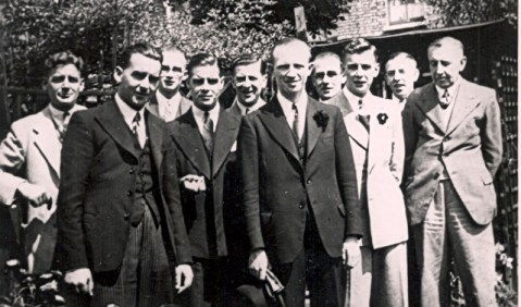 The Titheradge boys in Walthamstow with father Edward Hetreal Titheradge (b1877 d 1942). Titheradge family about 1940. From left to right Jack T; Herbert T; Lawrence T; Stanley T; Harold T; Sidney Ashpole, Francis T; Eric T; Leonard Sach and father
