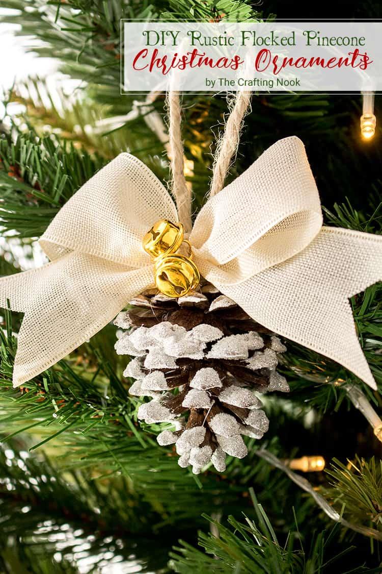 DIY Rustic Flocked Pinecone Christmas Ornaments Video