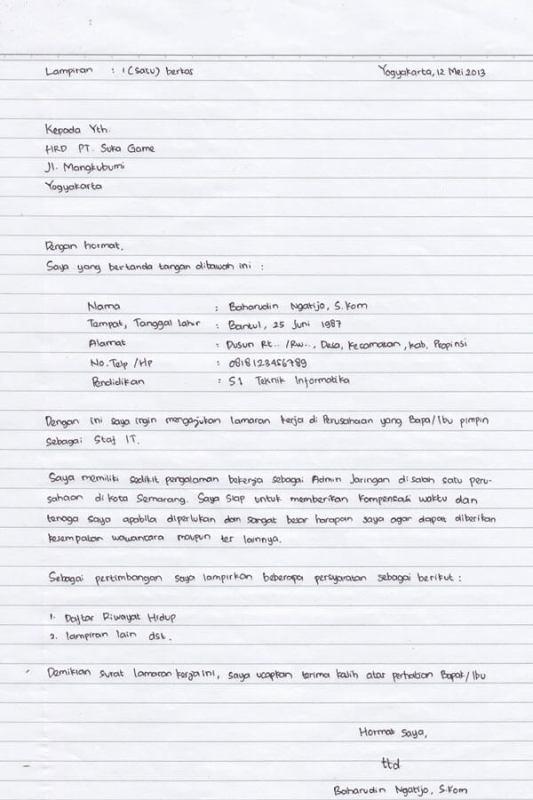 Contoh Surat Contoh Surat Lamaran Kerja Pt Imip Morowali