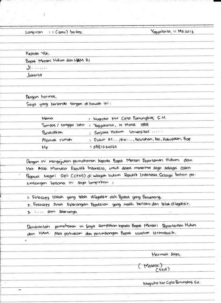 contoh surat lamaran kerja cpns tulis tangan