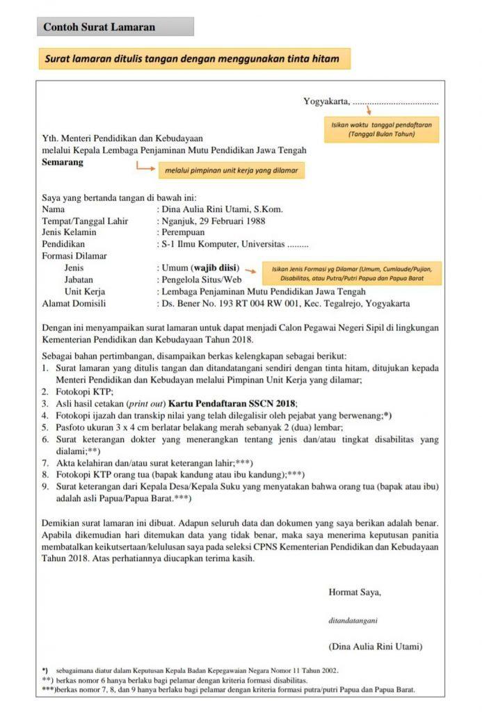 4 Contoh Surat Lamaran Cpns 2020 Resmi Format Dari Kemendikbud