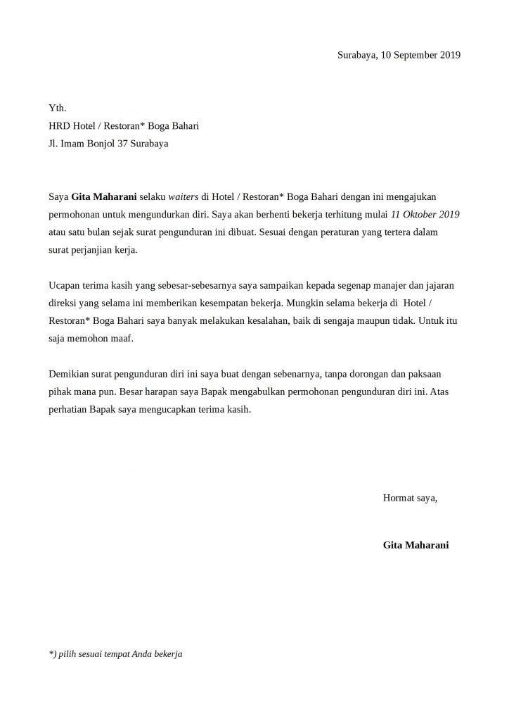 10 Contoh Surat Pengunduran Diri Resign Dengan Alasan Yang