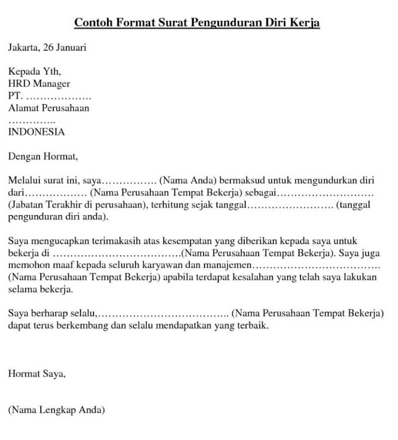 10 Contoh Surat Pengunduran Diri (Resign) dengan Alasan ...