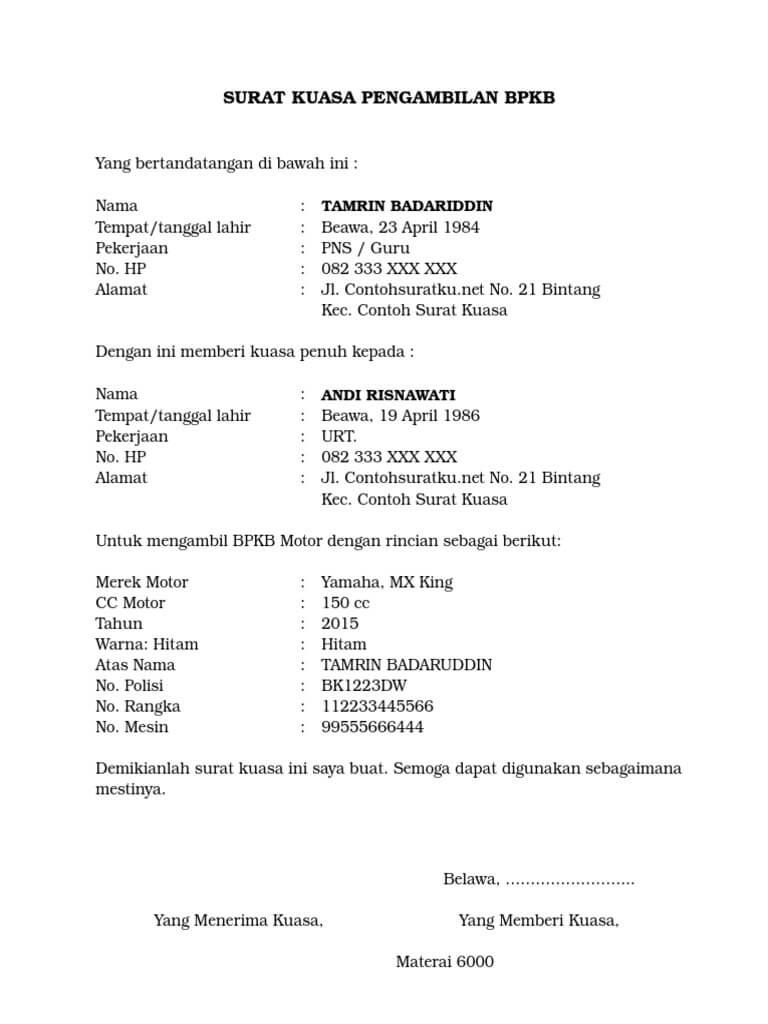 Contoh Surat Kuasa Pengambilan Bpkb Motor : contoh, surat, kuasa, pengambilan, motor, Contoh, Surat, Kuasa, Pengambilan, Motor, Mobil
