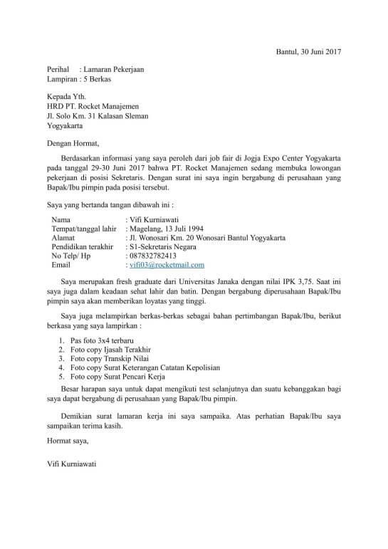 Contoh surat lamaran kerja di pt untuk posisi sekretaris
