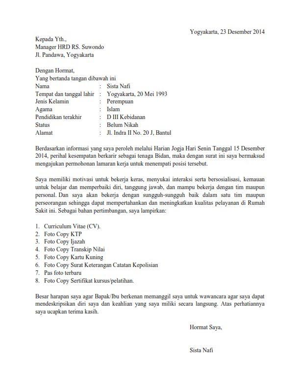 7 Contoh Surat Lamaran Kerja Di Rumah Sakit 2020 Semua Posisi