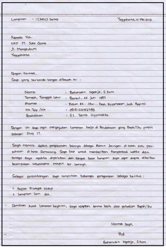 Contoh surat lamaran kerja di pt sebagai karyawan tulis tangan