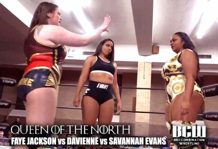 Queen of the North (Women's Wrestling) Faye Jackson vs Davienne vs Savannah Evans Brii Combination Wrestling 1200x675.jpg