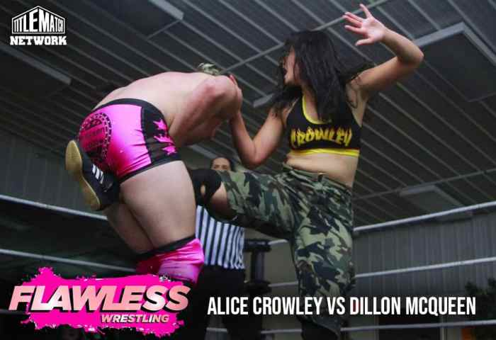 Alice Crowley vs Dillon McQueen 1200x675 Graphic Title Match Network - Flawless Women's Wrestling NEW