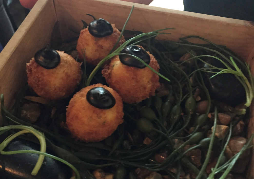 Smoked cod balls as canapes