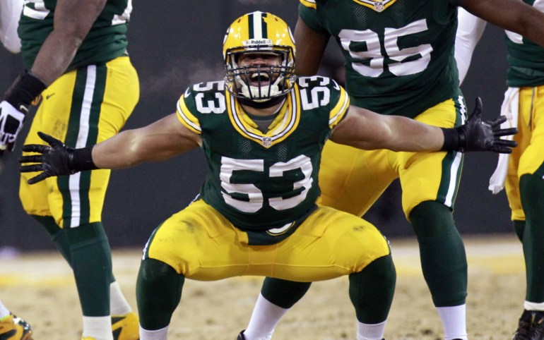 Green Bay Packers linebacker Nick Perry (53) impersonates teammate Clay Matthews sack reaction after sacking San Francisco 49ers quarterback Colin Kaepernick (7)during the fourth quarter of their wildcard playoff game Sunday, January 5, 2014 at Lambeau Field in Green Bay, Wis. The San Francisco 49ers beat the Green Bay Packers 23-20. MARK HOFFMAN/MHOFFMAN@JOURNALSENTINEL.COM